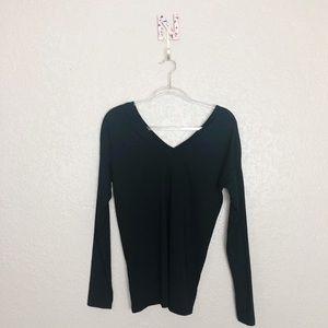EUC Lacoste black long sleeve V neck cotton Tee